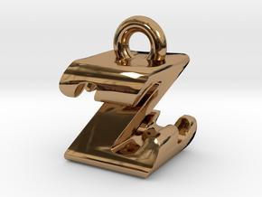 3D Monogram - ZZF1 in Polished Brass