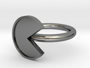 Pacman Ring - Size 8 in Polished Silver