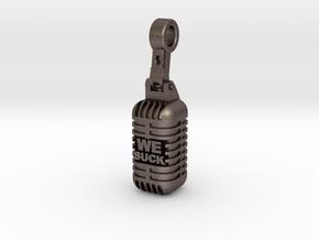 We Suck Vintage Microphone in Polished Bronzed Silver Steel