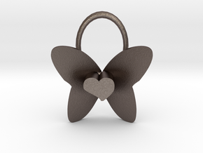 Cute Heart Butterfly Pendant in Polished Bronzed Silver Steel