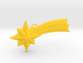 Ornament, Shooting Star 02 in Yellow Processed Versatile Plastic