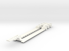 Low Boy Trailer 1-87 HO Scale (Closed) in White Strong & Flexible Polished