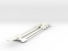 Low Boy Trailer 1-87 HO Scale (Open) in White Processed Versatile Plastic