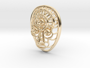 Face Pendant in 14K Yellow Gold