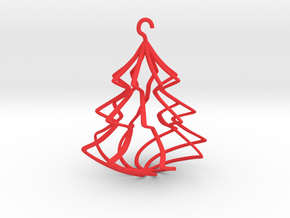 Wireframe Christmas Tree in Red Strong & Flexible Polished
