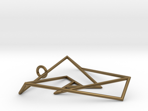 Impossible triangle pendant with a twist in Polished Bronze
