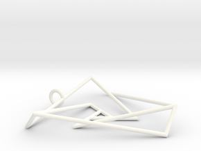 Impossible triangle pendant with a twist in White Processed Versatile Plastic