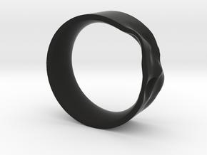 The Crumple Ring - 19mm Dia in Black Natural Versatile Plastic