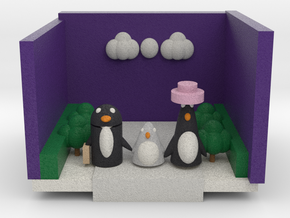 A Penguin Family Out For A Walk  in Full Color Sandstone
