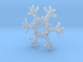 Snow Flake 6 Points D - 5cm in Smooth Fine Detail Plastic