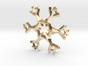Snow Flake 6 Points A - 5cm in 14K Yellow Gold