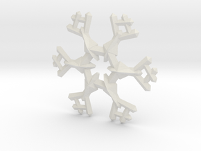 Snow Flake 6 Points A - 5cm in White Natural Versatile Plastic