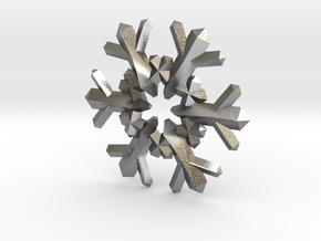 Snow Flake 6 Points F - 4cm in Natural Silver