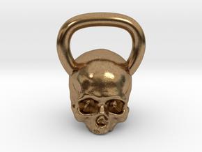 Kettlebell Skull in Natural Brass