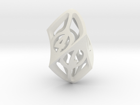 Twisty Spindle d6 in White Natural Versatile Plastic