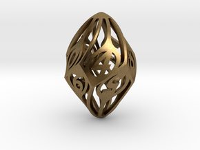 Twisty Spindle d10 in Natural Bronze