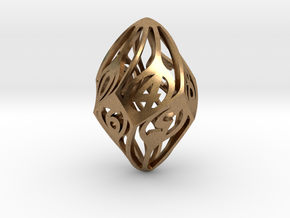 Twisty Spindle d10 in Natural Brass