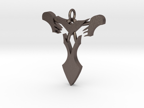 """Pendentif Bionicle - """"T"""" (Takanuva) in Polished Bronzed Silver Steel"""