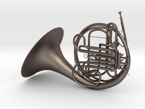French Horn in Polished Bronzed Silver Steel
