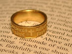 Bible Verse Ring Size 7.5 in Raw Brass