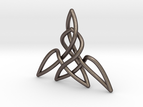 Triquetra Pendant 2 in Polished Bronzed Silver Steel