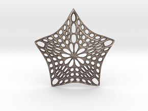 Decorative Ornament 'Star' in Polished Bronzed Silver Steel
