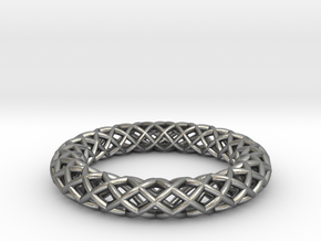 Wire mesh ring (US 6¼) in Natural Silver