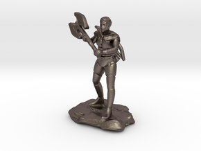 Half Orc Ranger With Greataxe and Shortbow in Polished Bronzed Silver Steel