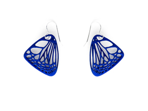 Butterfly Earrings (S) Plastic in Blue Processed Versatile Plastic
