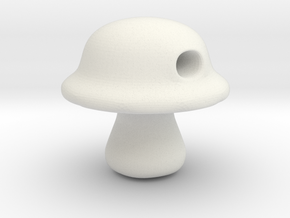 Baby Portabella Mushroom Bead in White Natural Versatile Plastic