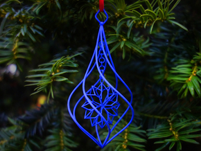 Christmas Tree Ornament (Bauble) - Snowflake in Blue Processed Versatile Plastic