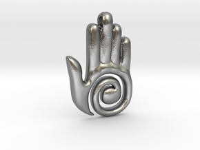 Healer's Hand Charm in Natural Silver