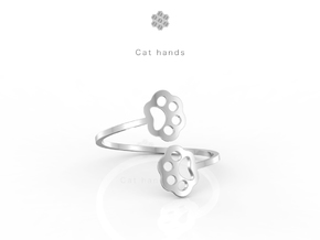 Cat hands Ring in Premium Silver