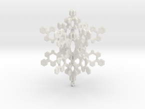 Small 3d Hex Based Snowflake in White Natural Versatile Plastic