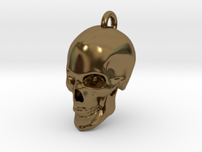 Human skull Pendant in Polished Bronze
