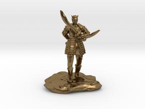 Tiefling in Splintmail With Dual Scimitars in Natural Bronze