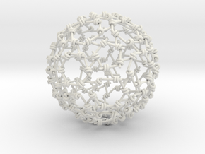Weaved Knots Sphere in White Natural Versatile Plastic