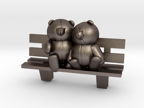 Bears on bench in Polished Bronzed Silver Steel