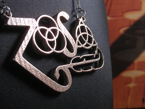 Four Symbols - Classic 70's Rock Pendant in Polished Bronzed Silver Steel