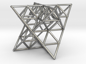 Rod Merkaba Lattice OpenBase - 6cm in Natural Silver