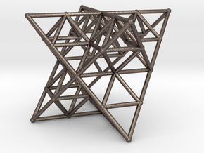 Rod Merkaba Lattice OpenBase - 6cm in Polished Bronzed Silver Steel