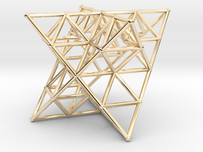 Rod Merkaba Lattice OpenBase - 6cm in 14K Yellow Gold