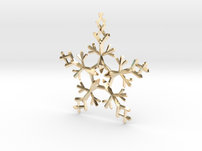 Snow Flake 5 Points - w Loopet - 7cm in 14K Yellow Gold