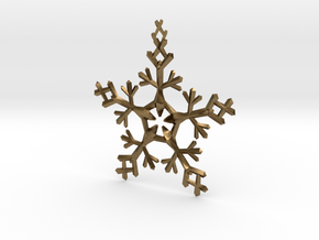 Snow Flake 5 Points - w Loopet - 7cm in Natural Bronze