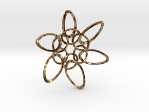 6 Ring PentaTwist  - 6.6cm in Natural Brass