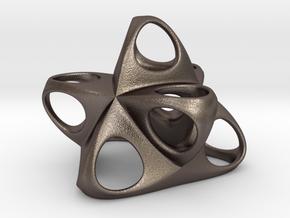 Merkaba Flatbase R1 5cm in Polished Bronzed Silver Steel