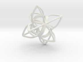 Merkaba Flatbase CurvaciousP - 4cm in White Natural Versatile Plastic