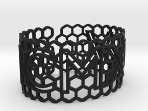 Roman birthday honeycomb bangle (add $80) in Black Strong & Flexible