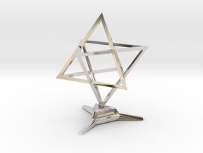 Merkaba Sharp - w Base - 4cm in Platinum