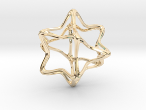 Cube Octahedron Curvy Pinch - 5cm in 14K Yellow Gold